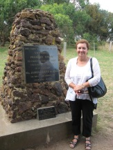 Beside a cairn celebrating Lt. Grant and his wheat crop