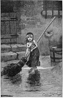 Picture of Cosette from the original 1862 version. Now used, of course, in publicity for Les Mis