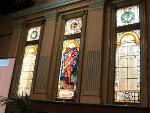 The beautiful stained glass windows in the Gryphon Gallery (where the conference was held), commemorating members of the Melbourne Teachers College (whose building this originally was) who died and served in World War I