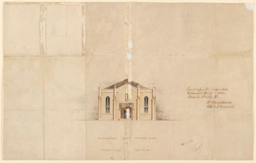 Elevation and Ground Plan of Presbyterian Church. I.e. Scots Church Collins Street Melbourne